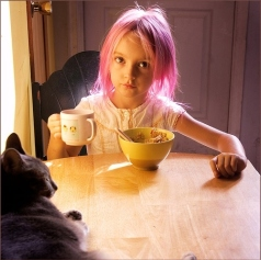 pink hair child